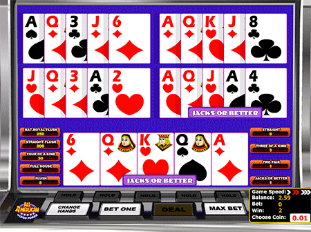 All American Multihand Video Poker spēle ir veca klasika!